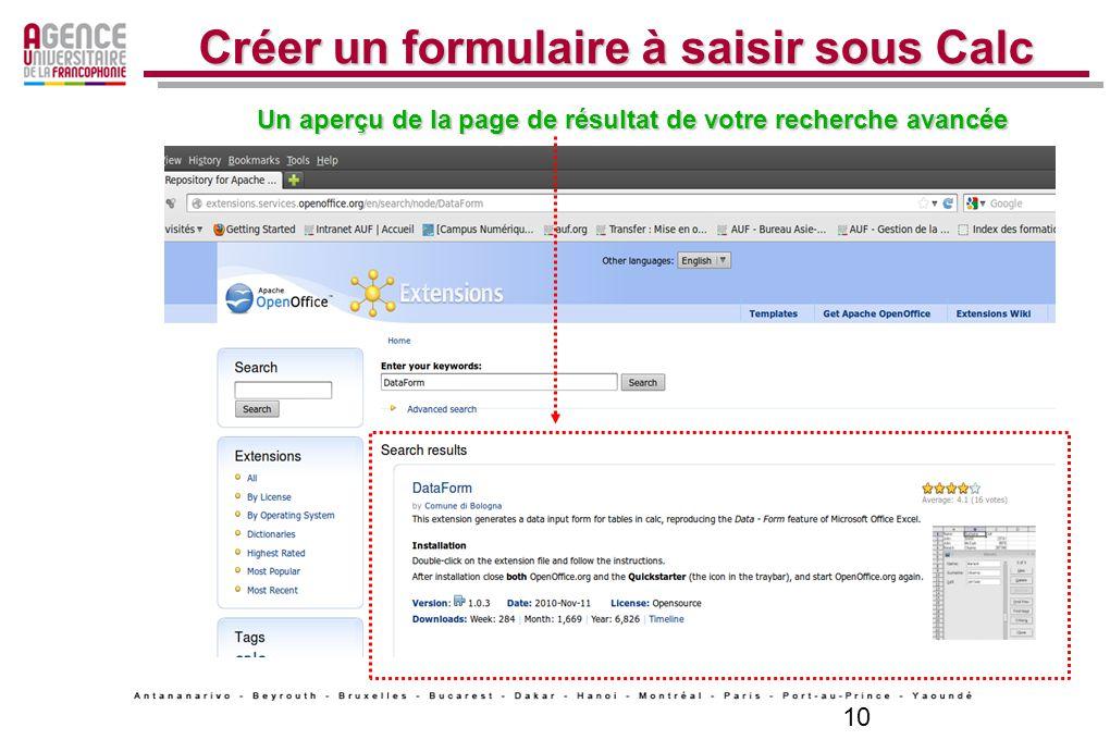 10 Créer un formulaire à saisir sous Calc Un aperçu de la page de résultat de votre recherche avancée