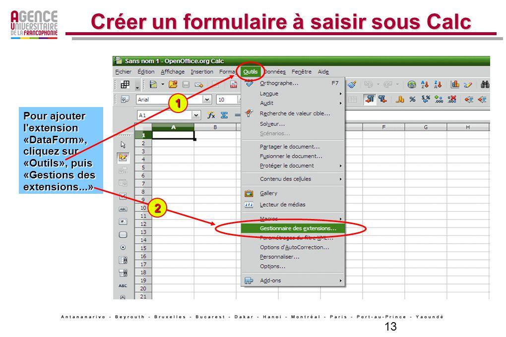 13 Créer un formulaire à saisir sous Calc Pour ajouter l'extension «DataForm», cliquez sur «Outils», puis «Gestions des extensions...» Pour ajouter l'