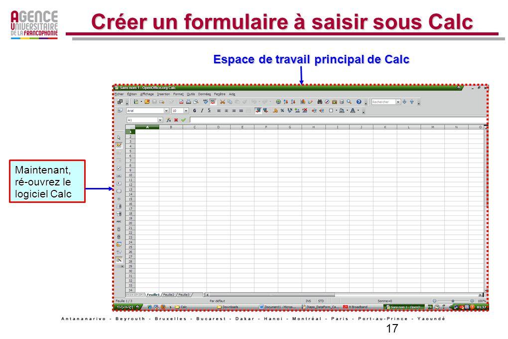 18 Créer un formulaire à saisir sous Calc Saisissiez ce texte dans les cellules de la Feuille1 : N°, Nom, Prénom, Adresse, Tél Fixe, Portable Sélectionnez les cellules à partir de A2-F3 « Données » ----» « Form ou Formulaire » Depuis la barre de menus, cliquez sur le menu « Données » ----» « Form ou Formulaire »