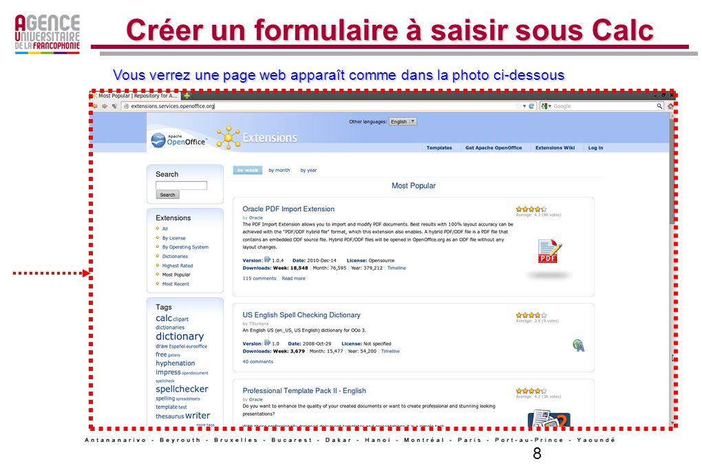 8 Créer un formulaire à saisir sous Calc Vous verrez une page web apparaît comme dans la photo ci-dessous
