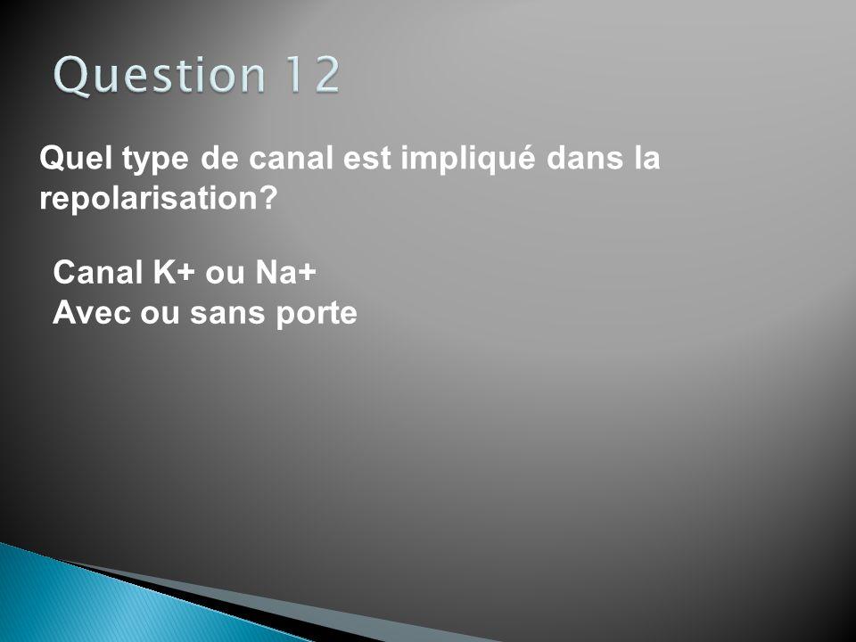 Quel type de canal est impliqué dans la dépolarisation? Canal K+ ou Na+ Avec ou sans porte