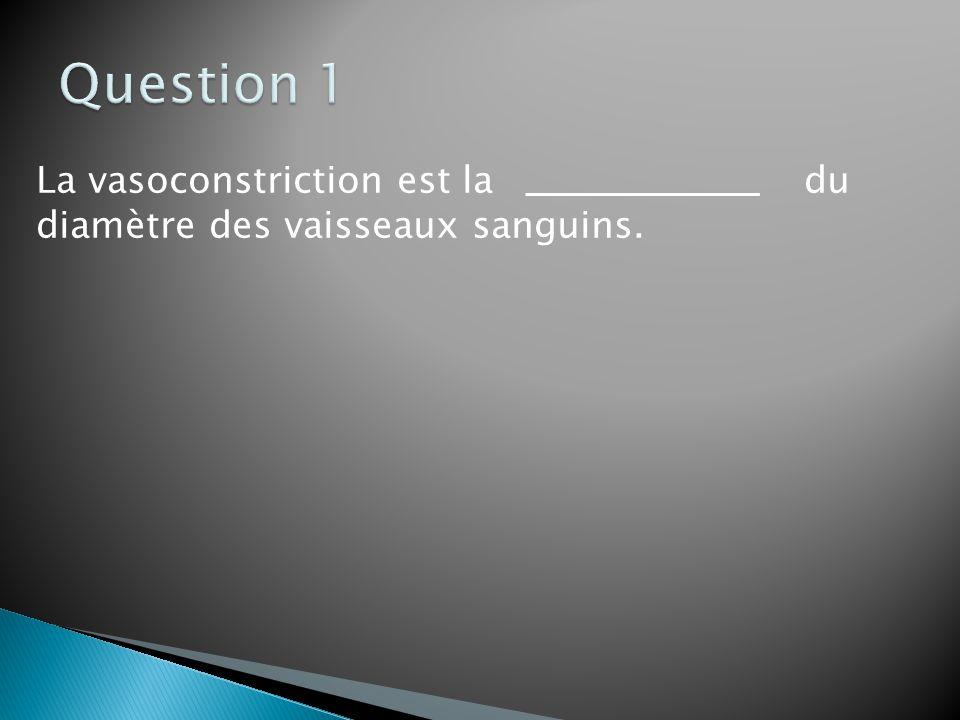 La vasoconstriction est la du diamètre des vaisseaux sanguins.