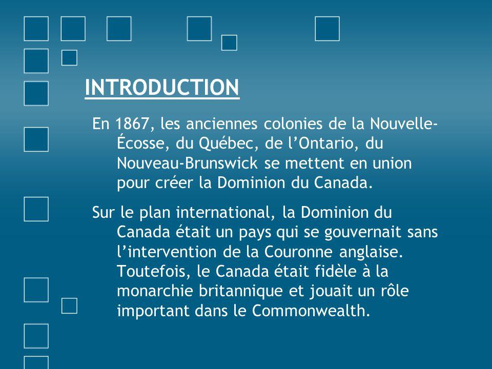 INTRODUCTION En 1867, les anciennes colonies de la Nouvelle- Écosse, du Québec, de lOntario, du Nouveau-Brunswick se mettent en union pour créer la Do