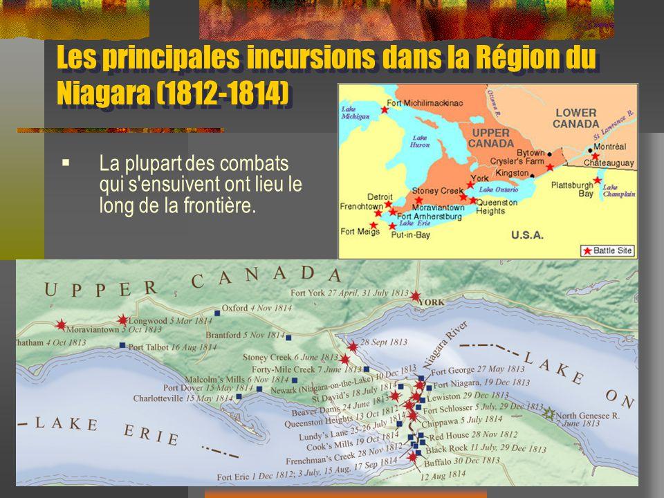 Les principales incursions dans la Région du Niagara (1812-1814) La plupart des combats qui s ensuivent ont lieu le long de la frontière.