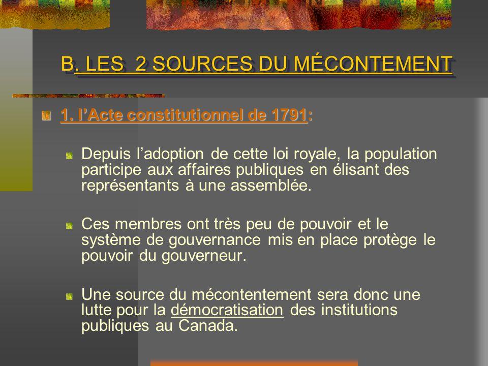 LES 2 SOURCES DU MÉCONTEMENT B.LES 2 SOURCES DU MÉCONTEMENT 1.