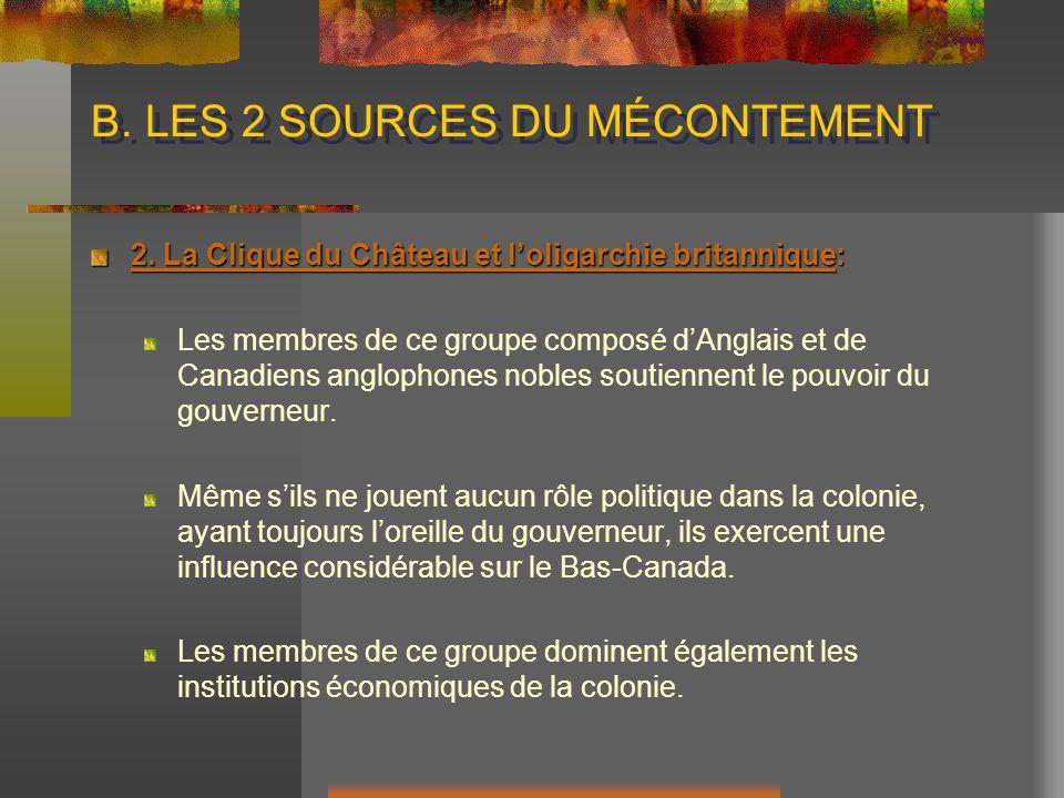 B.LES 2 SOURCES DU MÉCONTEMENT 2.