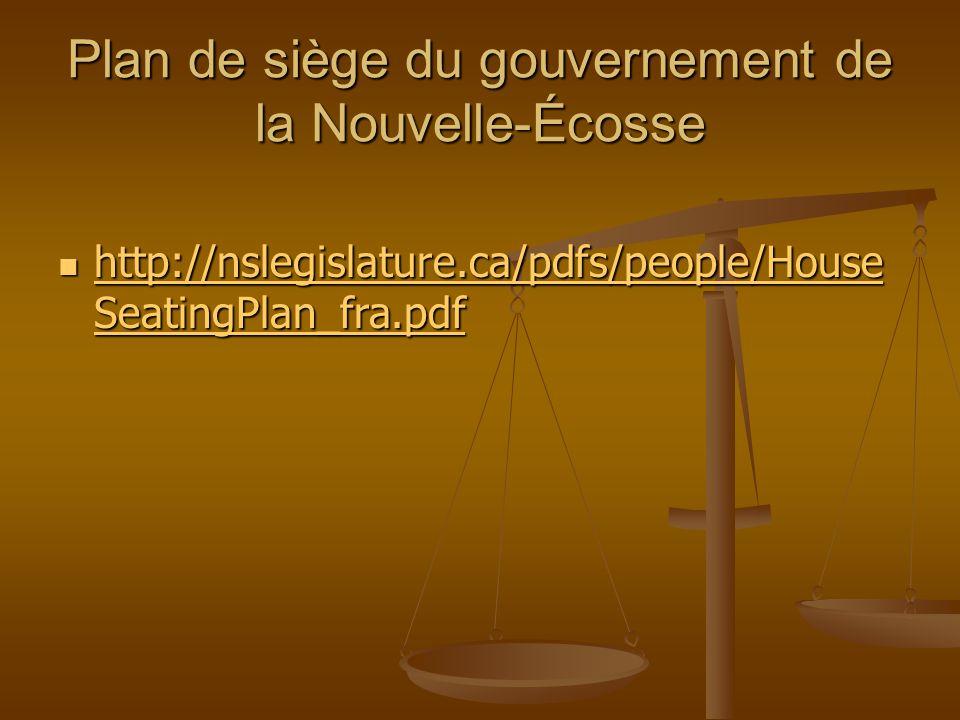 Plan de siège du gouvernement de la Nouvelle-Écosse http://nslegislature.ca/pdfs/people/House SeatingPlan_fra.pdf http://nslegislature.ca/pdfs/people/House SeatingPlan_fra.pdf http://nslegislature.ca/pdfs/people/House SeatingPlan_fra.pdf http://nslegislature.ca/pdfs/people/House SeatingPlan_fra.pdf