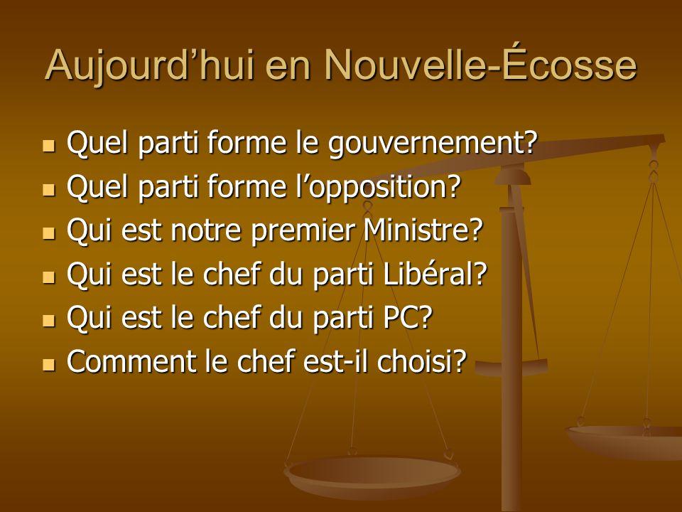 Aujourdhui en Nouvelle-Écosse Quel parti forme le gouvernement? Quel parti forme le gouvernement? Quel parti forme lopposition? Quel parti forme loppo
