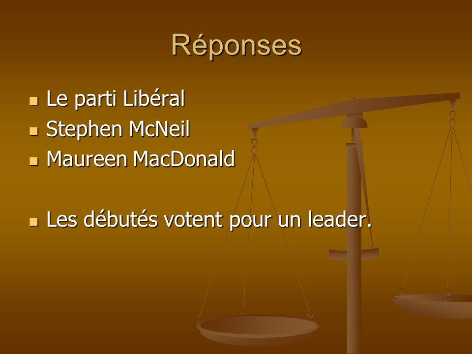 Réponses Le parti Libéral Le parti Libéral Stephen McNeil Stephen McNeil Maureen MacDonald Maureen MacDonald Les débutés votent pour un leader. Les dé