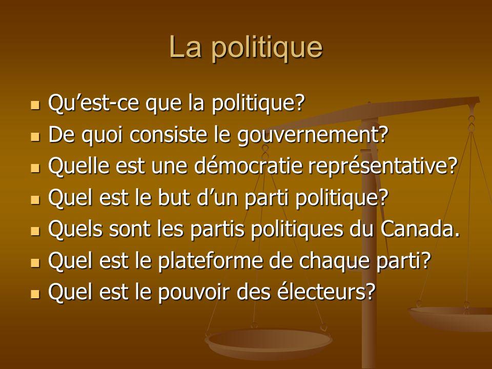La politique Quest-ce que la politique? Quest-ce que la politique? De quoi consiste le gouvernement? De quoi consiste le gouvernement? Quelle est une