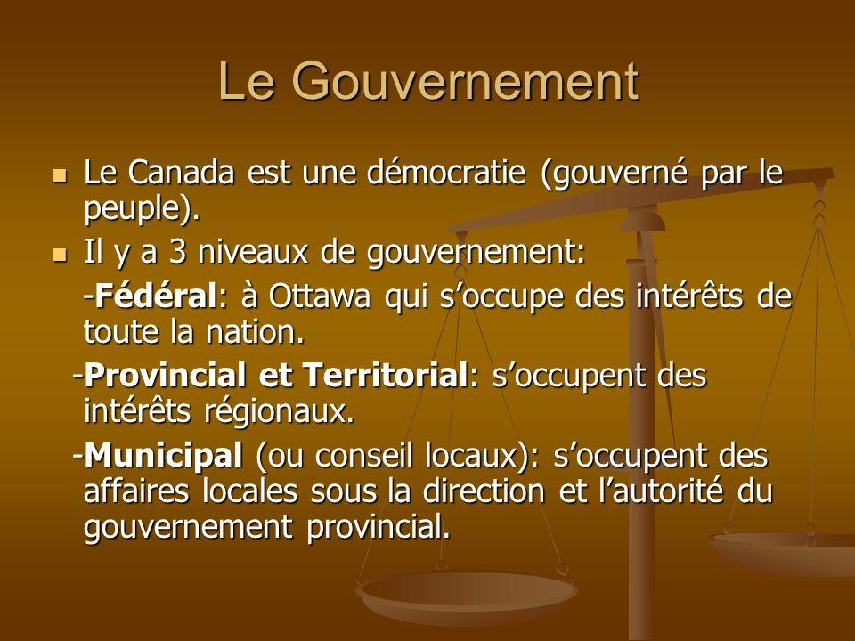 Le Gouvernement Le Canada est une démocratie (gouverné par le peuple). Le Canada est une démocratie (gouverné par le peuple). Il y a 3 niveaux de gouv