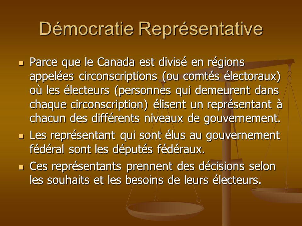Démocratie Représentative Parce que le Canada est divisé en régions appelées circonscriptions (ou comtés électoraux) où les électeurs (personnes qui d