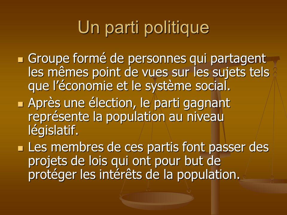 Un parti politique Groupe formé de personnes qui partagent les mêmes point de vues sur les sujets tels que léconomie et le système social. Groupe form