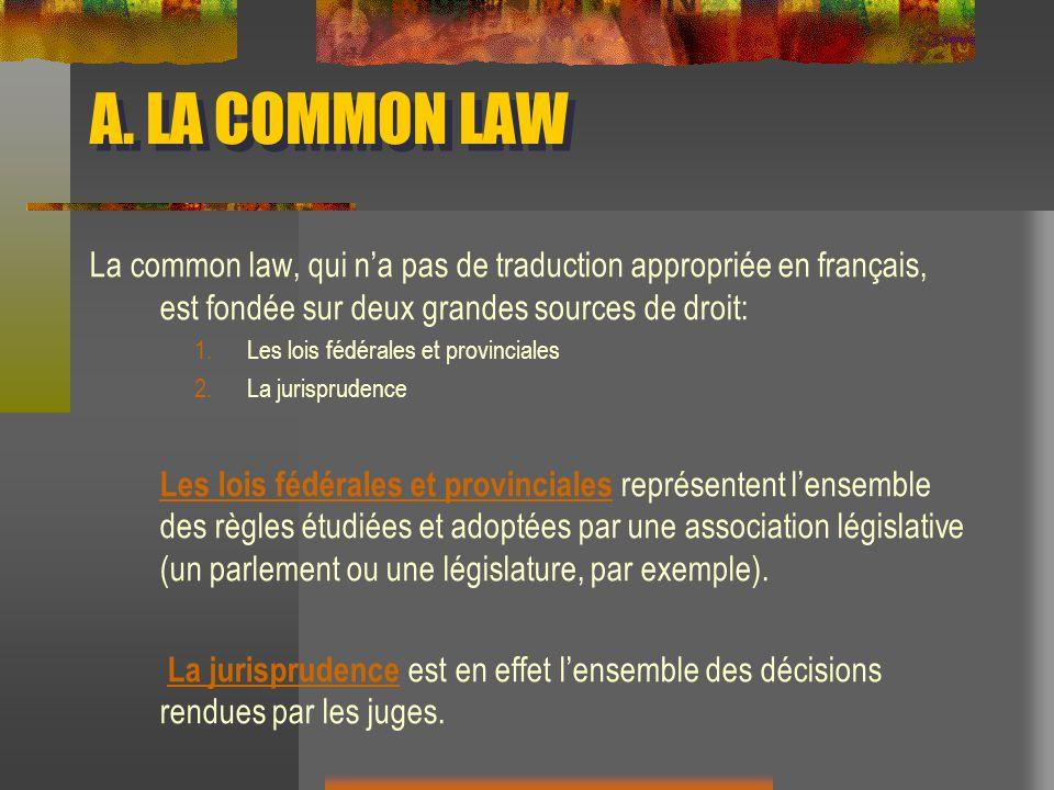 A. LA COMMON LAW La common law, qui na pas de traduction appropriée en français, est fondée sur deux grandes sources de droit: 1.Les lois fédérales et
