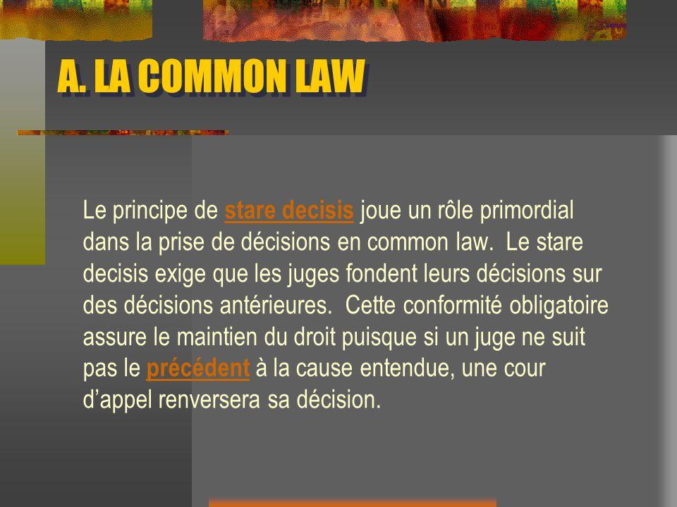 A. LA COMMON LAW Le principe de stare decisis joue un rôle primordial dans la prise de décisions en common law. Le stare decisis exige que les juges f