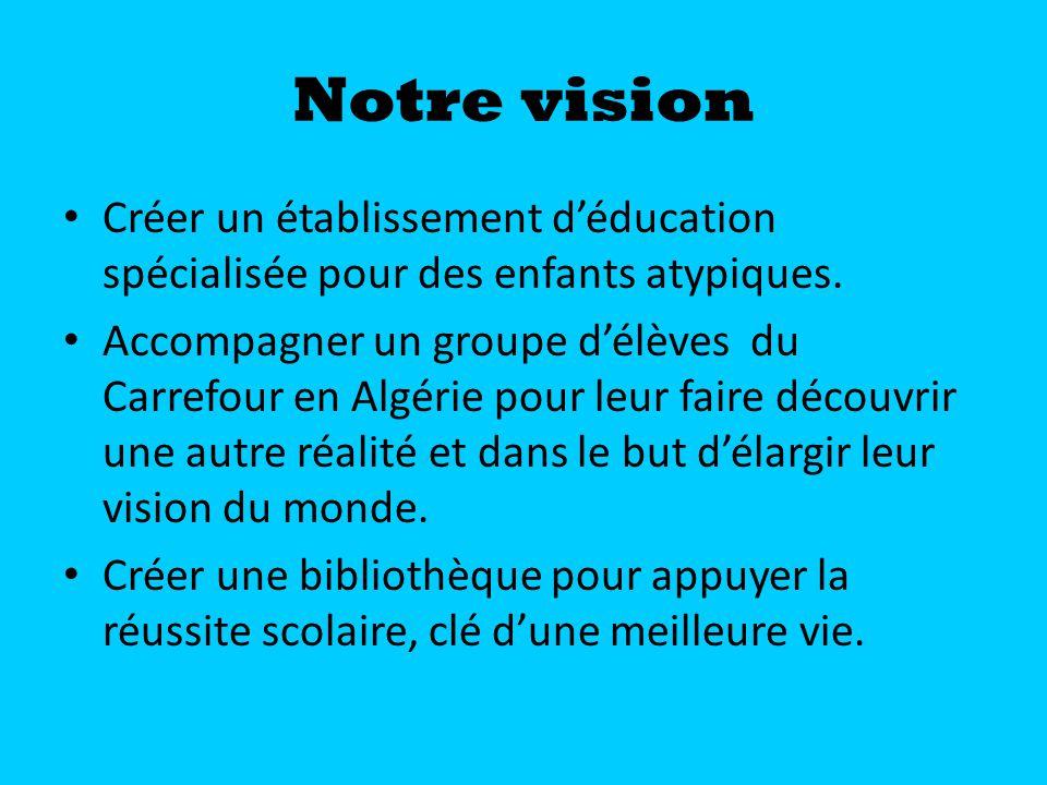 Notre vision Créer un établissement déducation spécialisée pour des enfants atypiques. Accompagner un groupe délèves du Carrefour en Algérie pour leur