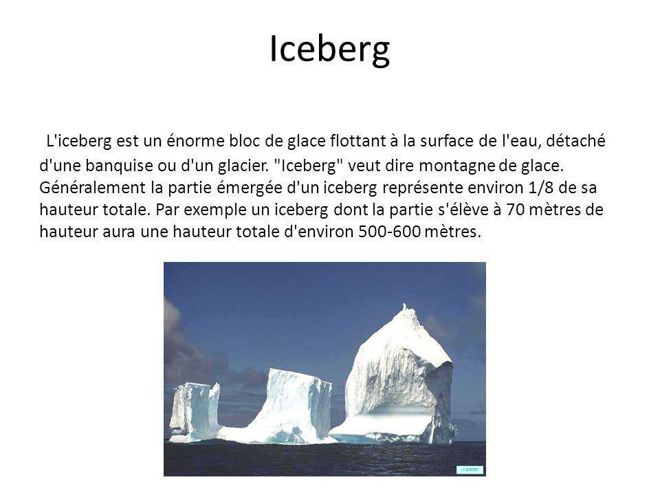 Iceberg L'iceberg est un énorme bloc de glace flottant à la surface de l'eau, détaché d'une banquise ou d'un glacier.