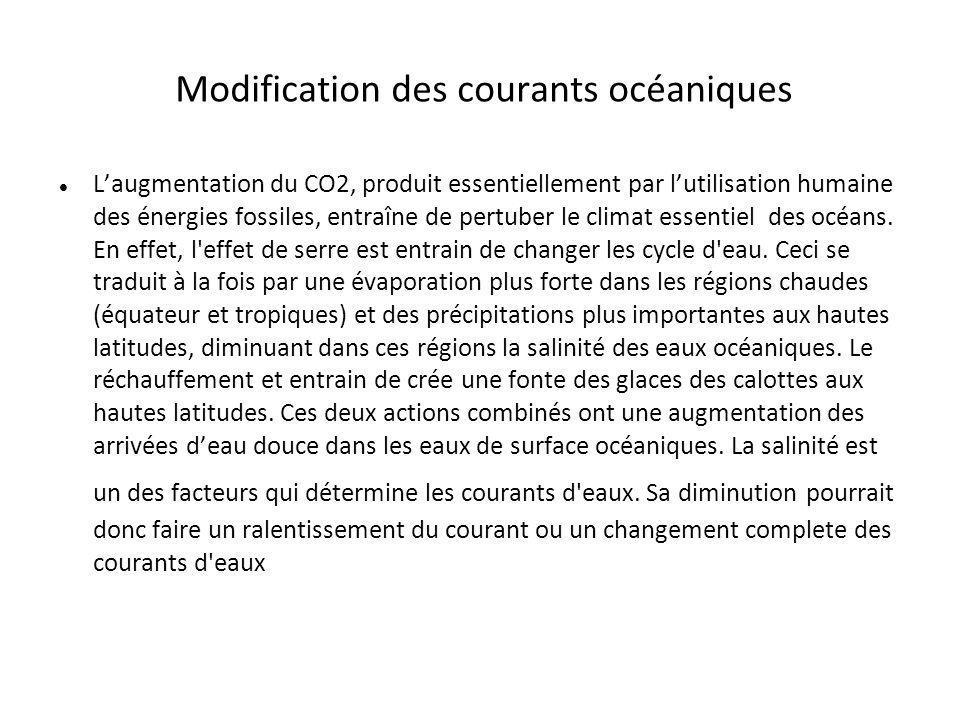 Modification des courants océaniques Laugmentation du CO2, produit essentiellement par lutilisation humaine des énergies fossiles, entraîne de pertube