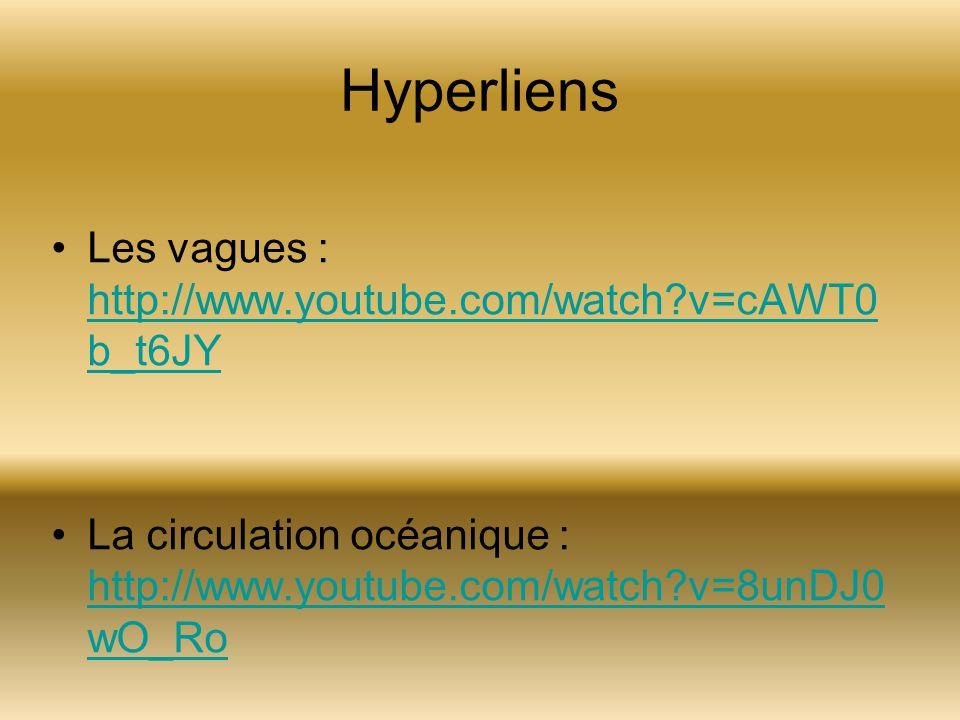 Hyperliens Les vagues : http://www.youtube.com/watch?v=cAWT0 b_t6JY http://www.youtube.com/watch?v=cAWT0 b_t6JY La circulation océanique : http://www.