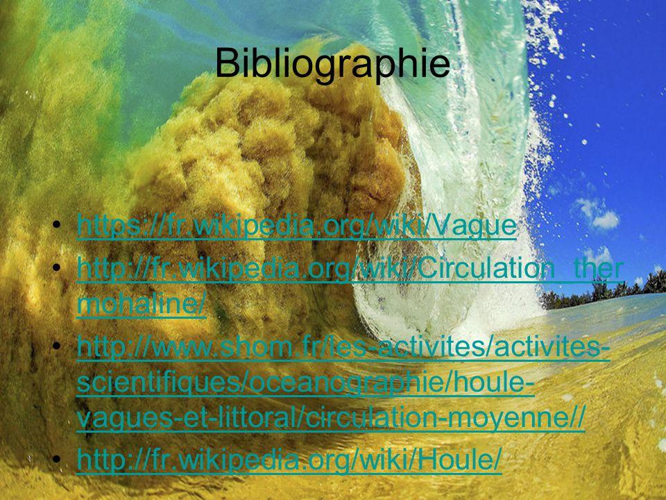 Bibliographie https://fr.wikipedia.org/wiki/Vague http://fr.wikipedia.org/wiki/Circulation_ther mohaline/http://fr.wikipedia.org/wiki/Circulation_ther