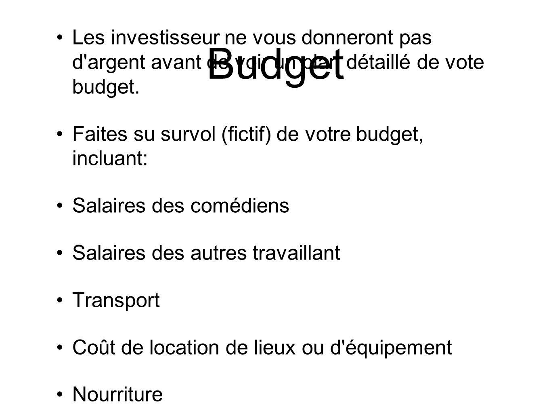 Budget Les investisseur ne vous donneront pas d'argent avant de voir un plan détaillé de vote budget. Faites su survol (fictif) de votre budget, inclu