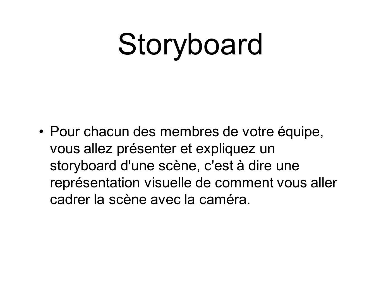Storyboard Pour chacun des membres de votre équipe, vous allez présenter et expliquez un storyboard d'une scène, c'est à dire une représentation visue