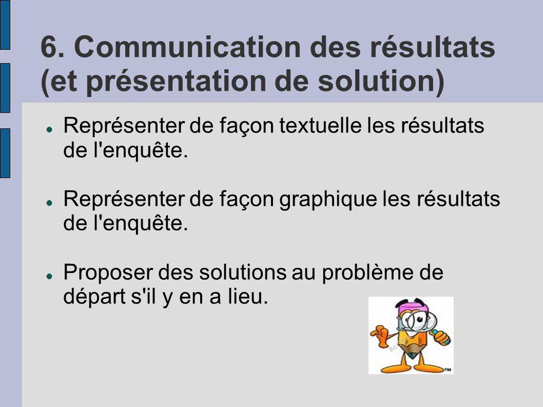 6. Communication des résultats (et présentation de solution) Représenter de façon textuelle les résultats de l'enquête. Représenter de façon graphique