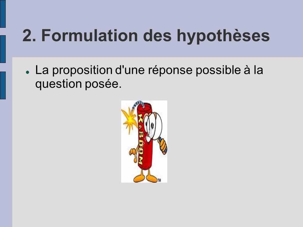 2. Formulation des hypothèses La proposition d'une réponse possible à la question posée.