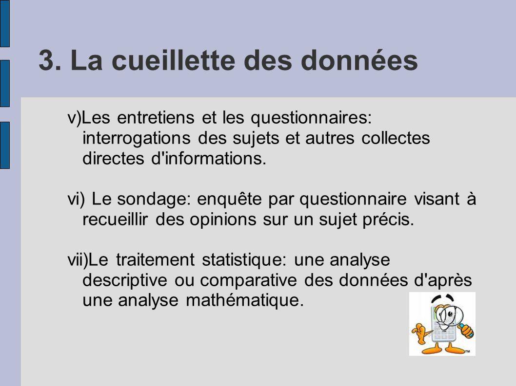 3. La cueillette des données v)Les entretiens et les questionnaires: interrogations des sujets et autres collectes directes d'informations. vi) Le son