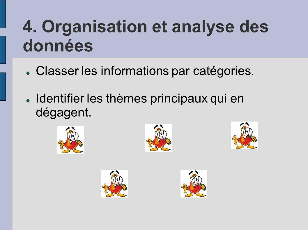 4. Organisation et analyse des données Classer les informations par catégories. Identifier les thèmes principaux qui en dégagent.