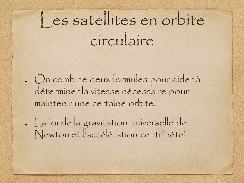 Les satellites en orbite circulaire On combine deux formules pour aider à déterminer la vitesse nécessaire pour maintenir une certaine orbite. La loi