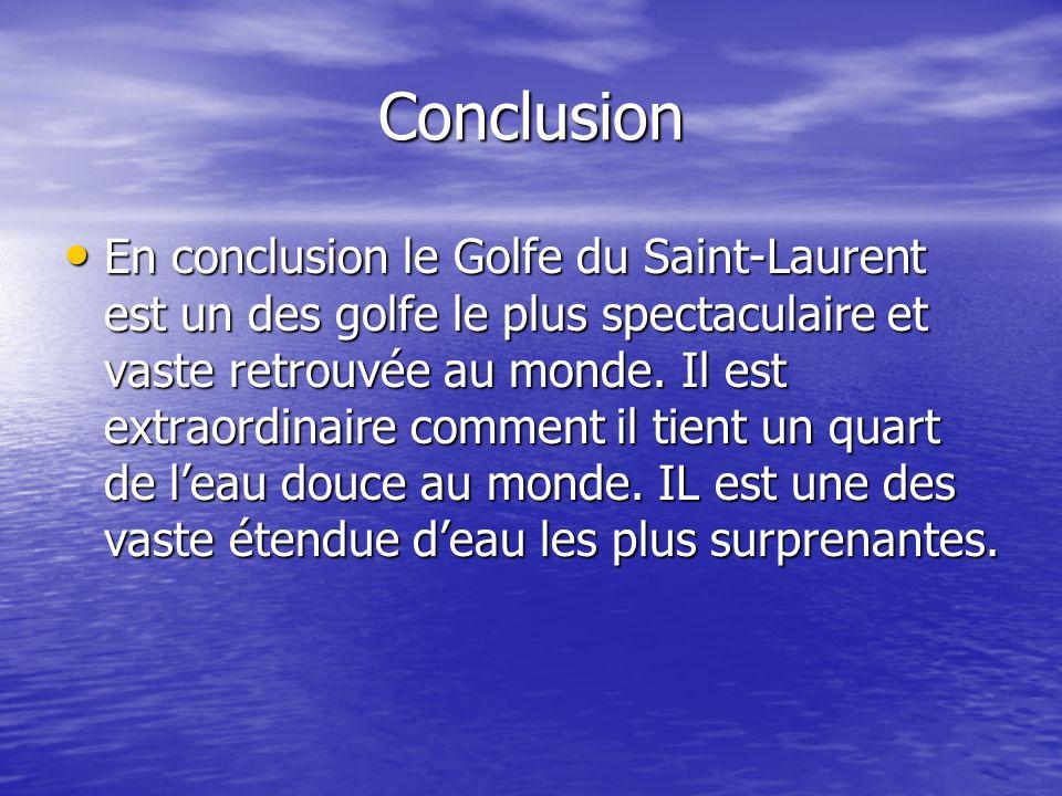 Conclusion En conclusion le Golfe du Saint-Laurent est un des golfe le plus spectaculaire et vaste retrouvée au monde. Il est extraordinaire comment i