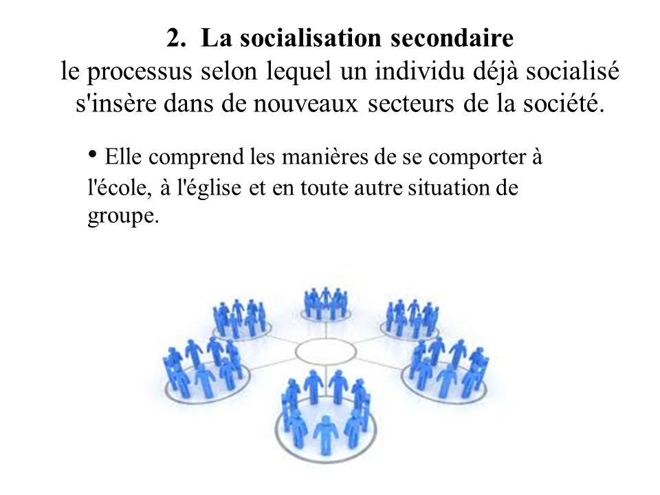 2. La socialisation secondaire le processus selon lequel un individu déjà socialisé s'insère dans de nouveaux secteurs de la société. Elle comprend le