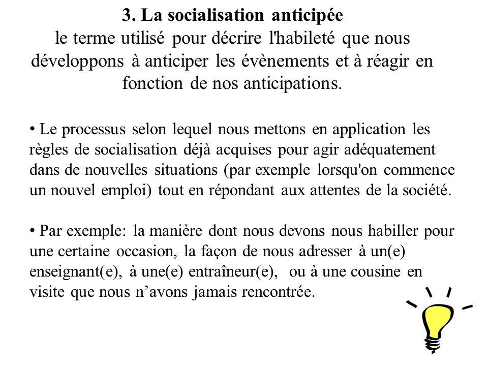 3. La socialisation anticipée le terme utilisé pour décrire l'habileté que nous développons à anticiper les évènements et à réagir en fonction de nos