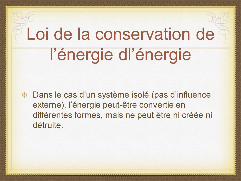 Loi de la conservation de lénergie dlénergie Dans le cas dun système isolé (pas dinfluence externe), lénergie peut-être convertie en différentes forme