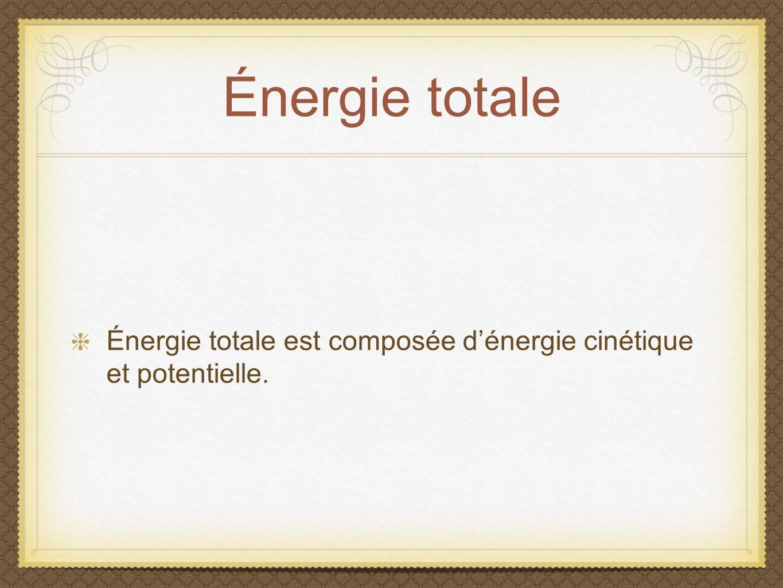 Énergie totale Énergie totale est composée dénergie cinétique et potentielle.
