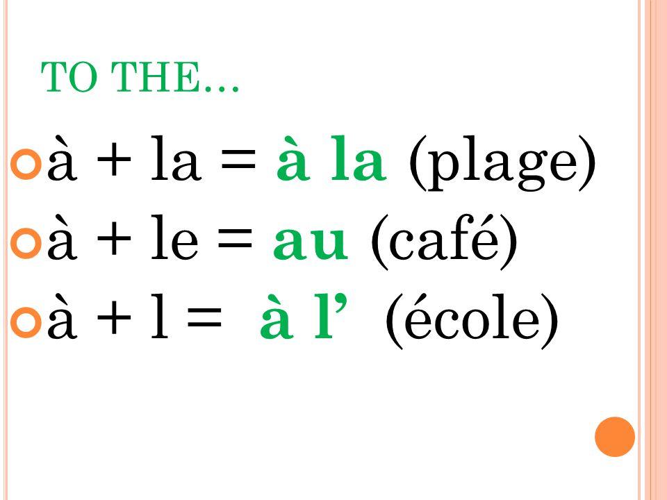 TO THE… à + la = à la (plage) à + le = au (café) à + l = à l (école)