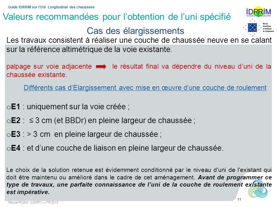 Valeurs recommandées pour lobtention de luni spécifié Pascal ROBIN (USIRF) – JTR 2013 11 Guide IDRRIM sur lUni Longitudinal des chaussées Cas des élar