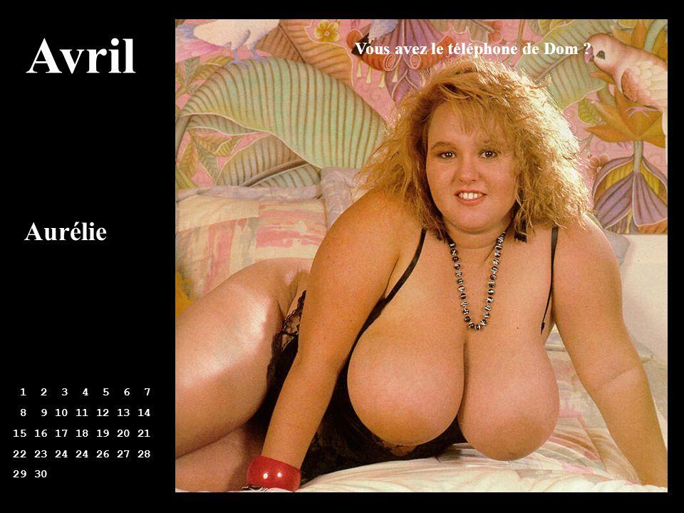 Avril 1 2 3 4 5 6 7 8 9 10 11 12 13 14 15 16 17 18 19 20 21 22 23 24 24 26 27 28 29 30 Aurélie Vous avez le téléphone de Dom ?
