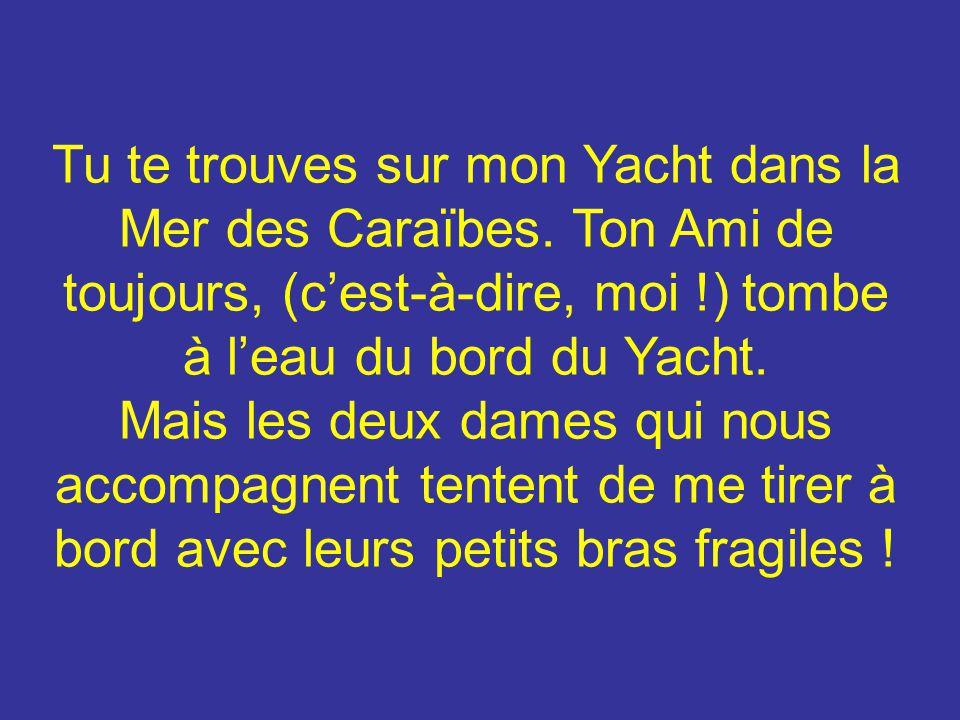 Tu te trouves sur mon Yacht dans la Mer des Caraïbes. Ton Ami de toujours, (cest-à-dire, moi !) tombe à leau du bord du Yacht. Mais les deux dames qui