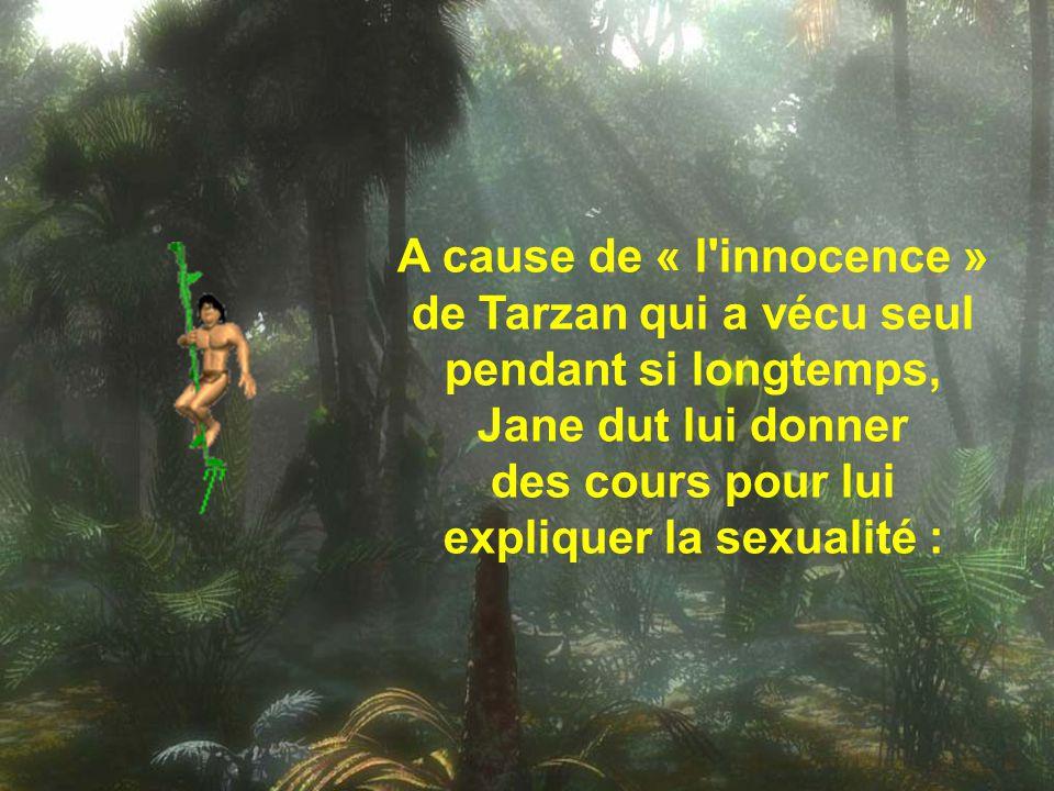 A cause de « l innocence » de Tarzan qui a vécu seul pendant si longtemps, Jane dut lui donner des cours pour lui expliquer la sexualité :