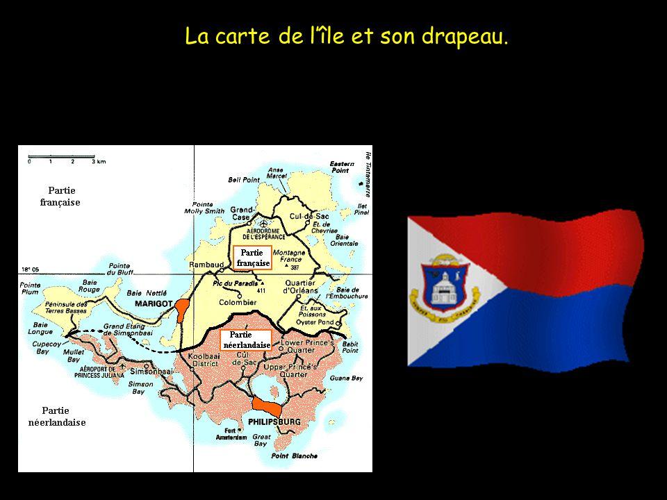 La carte de lîle et son drapeau.