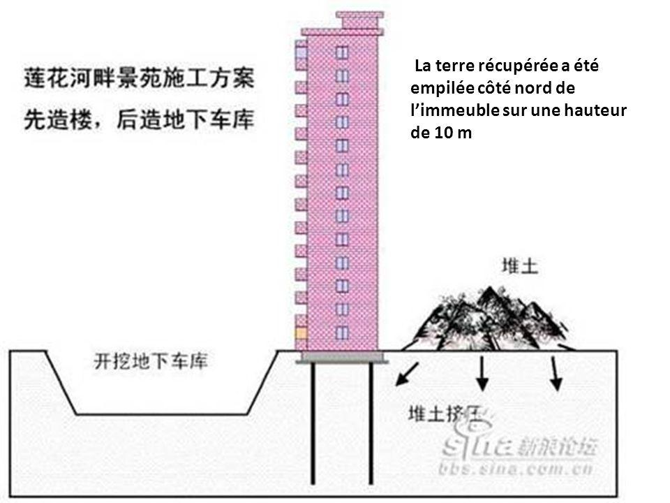 La terre récupérée a été empilée côté nord de limmeuble sur une hauteur de 10 m