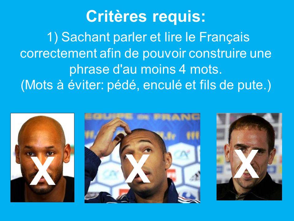 Critères requis: 1) Sachant parler et lire le Français correctement afin de pouvoir construire une phrase d'au moins 4 mots. (Mots à éviter: pédé, enc