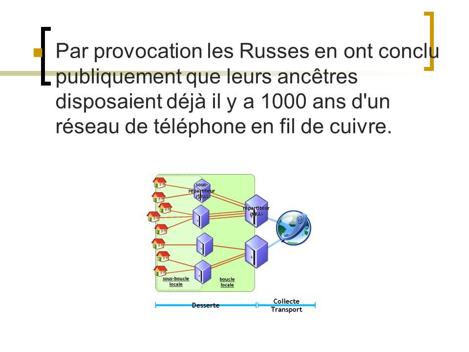 Par provocation les Russes en ont conclu publiquement que leurs ancêtres disposaient déjà il y a 1000 ans d'un réseau de téléphone en fil de cuivre.