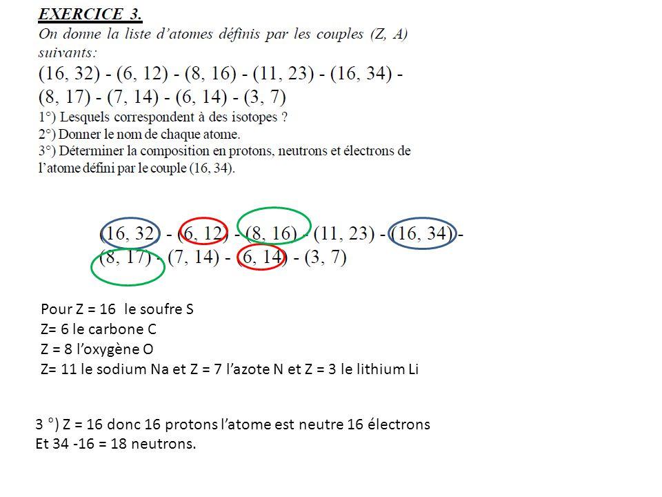Pour Z = 16 le soufre S Z= 6 le carbone C Z = 8 loxygène O Z= 11 le sodium Na et Z = 7 lazote N et Z = 3 le lithium Li 3 °) Z = 16 donc 16 protons lat