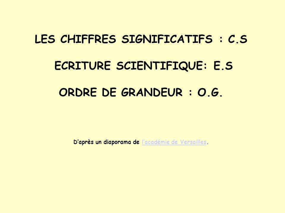 LES CHIFFRES SIGNIFICATIFS : C.S ECRITURE SCIENTIFIQUE: E.S ORDRE DE GRANDEUR : O.G. Daprès un diaporama de lacadémie de Versailles.lacadémie de Versa
