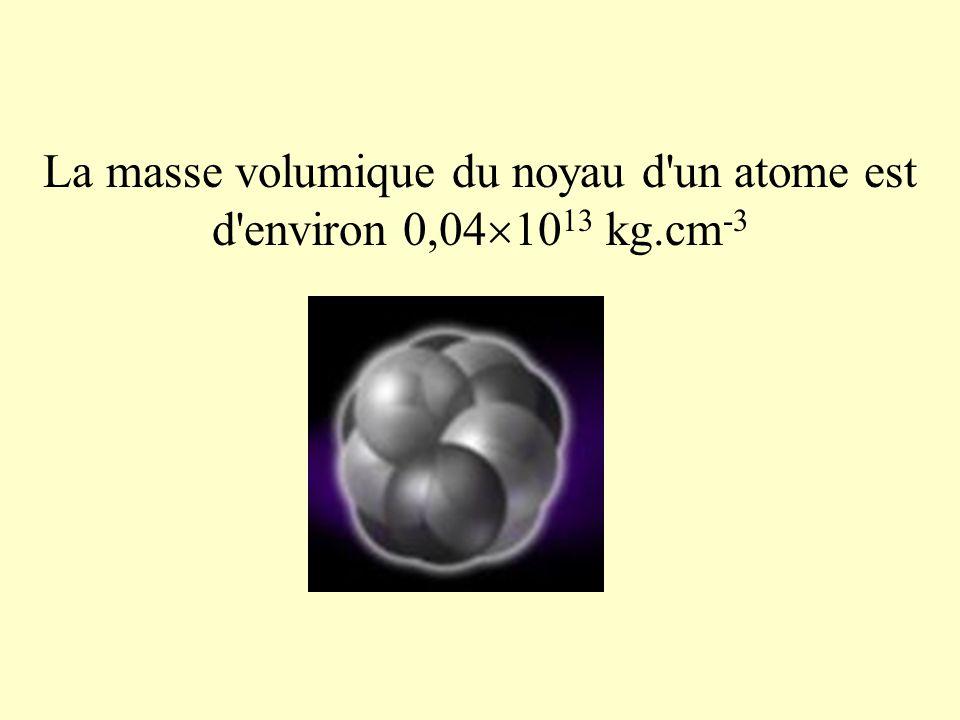 La masse volumique du noyau d'un atome est d'environ 0,04 10 13 kg.cm -3