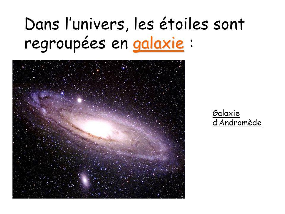 galaxie Dans lunivers, les étoiles sont regroupées en galaxie : Galaxie dAndromède