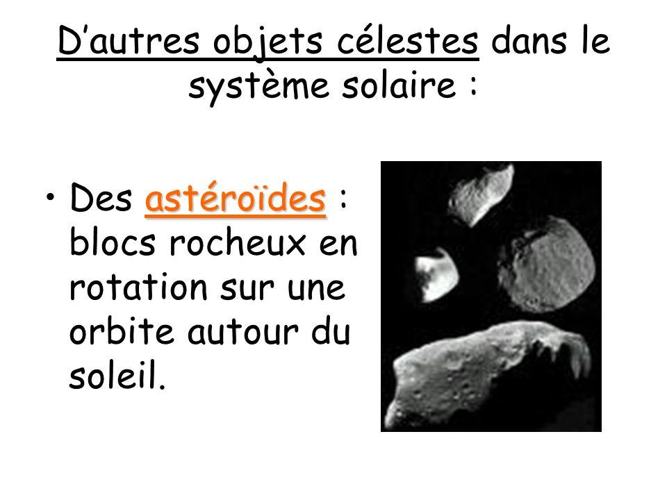 Dautres objets célestes dans le système solaire : astéroïdesDes astéroïdes : blocs rocheux en rotation sur une orbite autour du soleil.